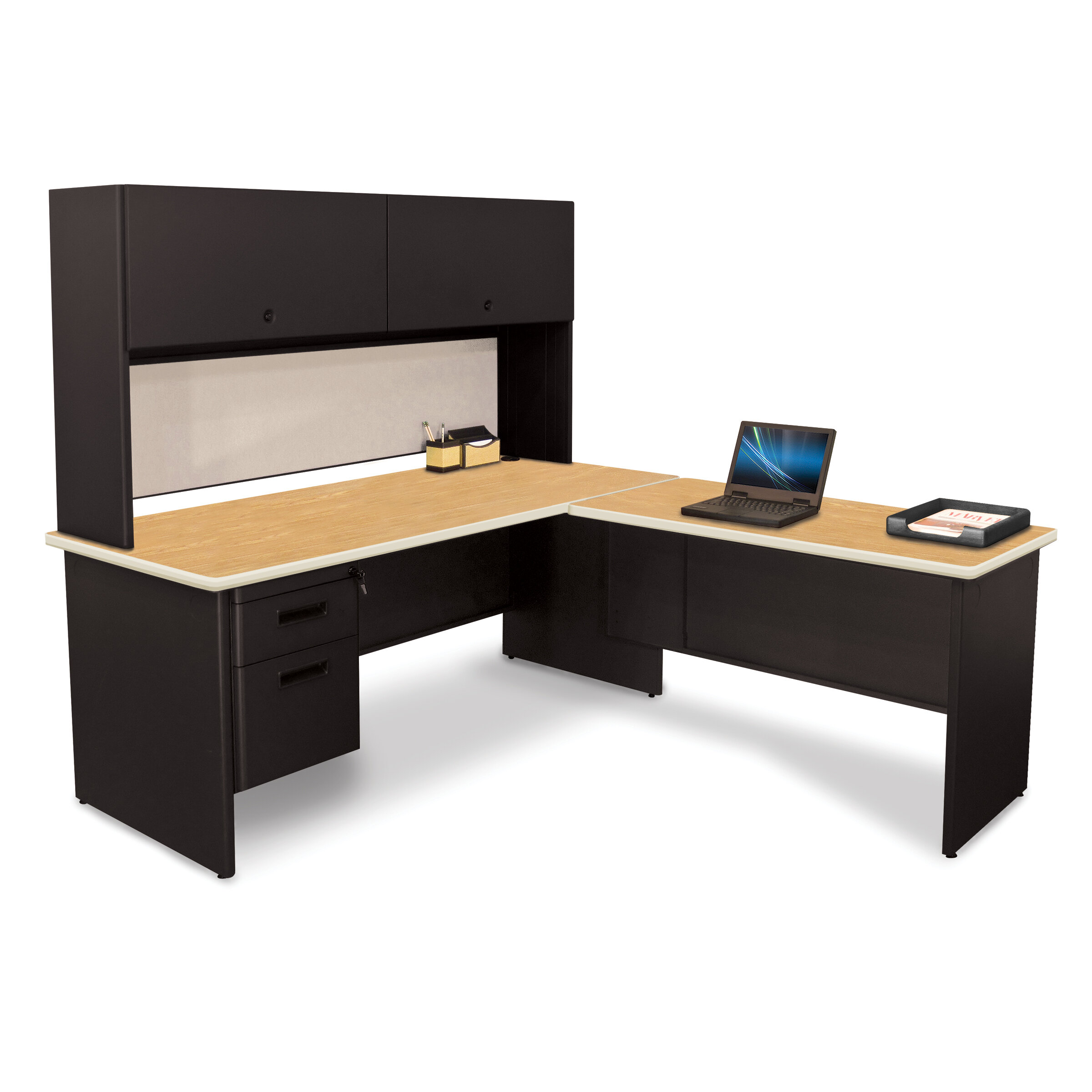 Marvel Office Furniture To Lock L Shape Executive Desk With Hutch Wayfair