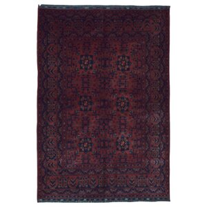 One-of-a-Kind San Vicente Traditional Khal Mohammadi Afghan Hand-Woven Wool Red Area Rug