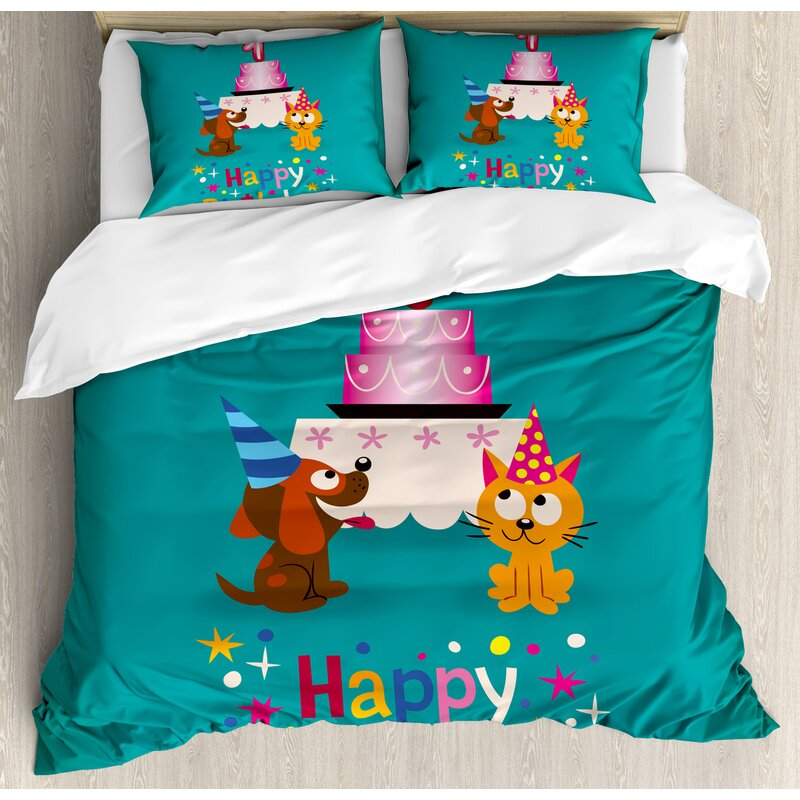 1st Birthday Decorations Toddler Party Cat And Dog With Hats Cake Backdrop Duvet Cover Set