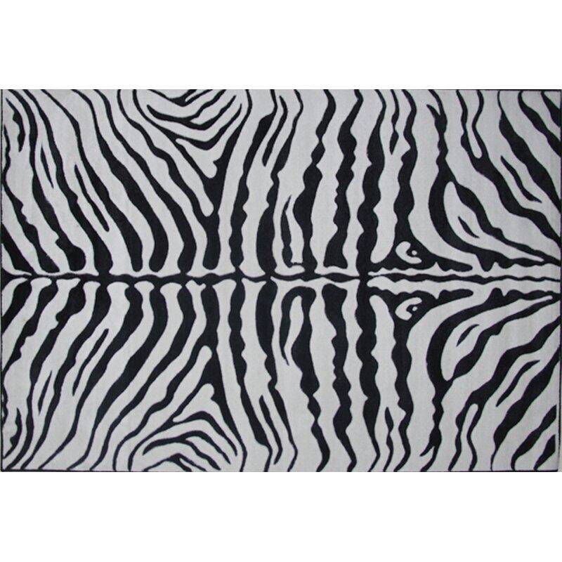 Acura Rugs Animal Hide White Black Zebra Area Rug: Fun Rugs Supreme Zebra Skin Machine Woven Black/White Area