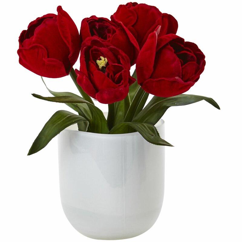 Nearly Natural Tulips Vase Wayfair