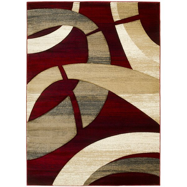 Lyke Home Abstract Hand Woven Red Tan Area Rug Reviews Wayfair