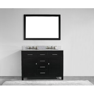 48 Inch Double Sink Vanity Top Bathroom Modern with Bath Accessories  Bathroom Mirror