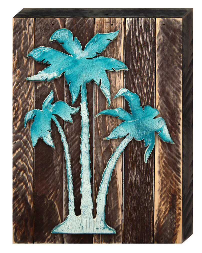 Designocracy Vintage Tropical Island Palm Tree On Reclaimed Wooden