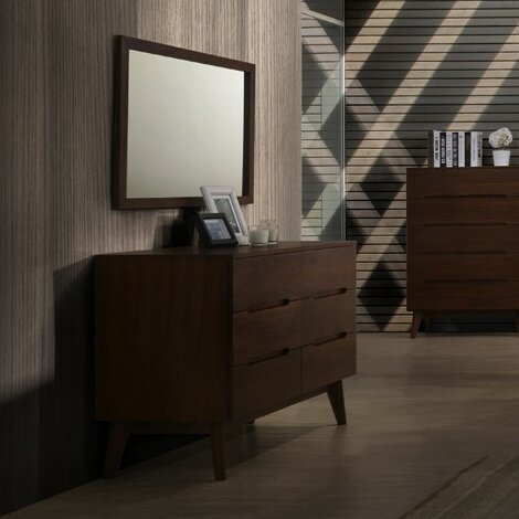 Drumnacole Mid Century 6 Drawer Dresser With Mirror