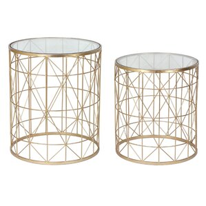 Delightful Metal 2 Piece Nesting Tables