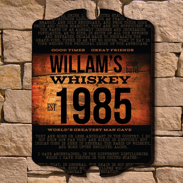 Home Wet Bar Single Barrel Whiskey Personalized Sign Wall Décor ...