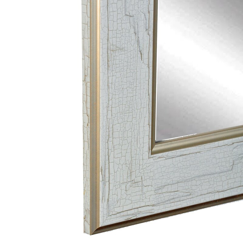 One Allium Way White Gold Cracked Full Length Wall Mirror