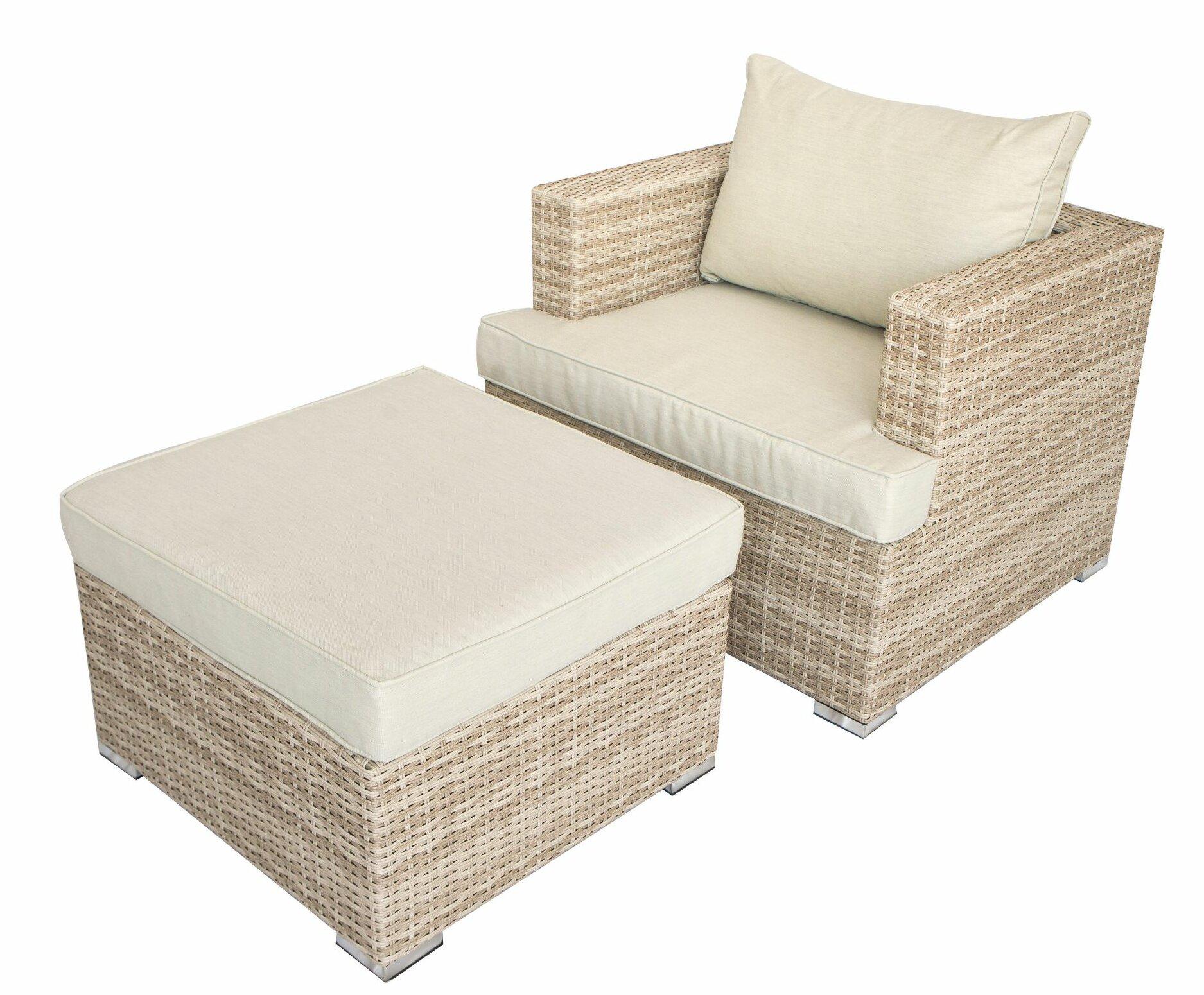 rosecliff heights ensemble de chaise et repose pieds 2 pieces avec coussins rembourres en tissu rembourres beige et brun santino c