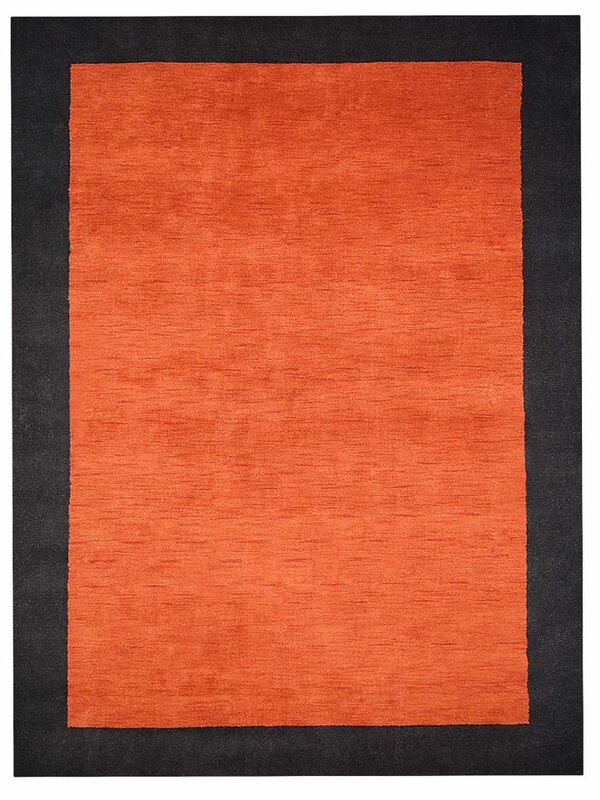 Theodis Loom Hand Woven Wool Orange Black Area Rug