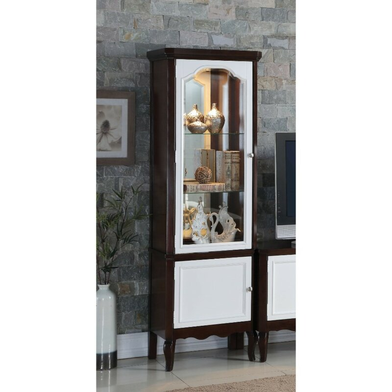 Coffey Single Glass Door Wooden Curio Cabinet