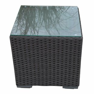 Outdoor Wicker Square End Table With Glass Top