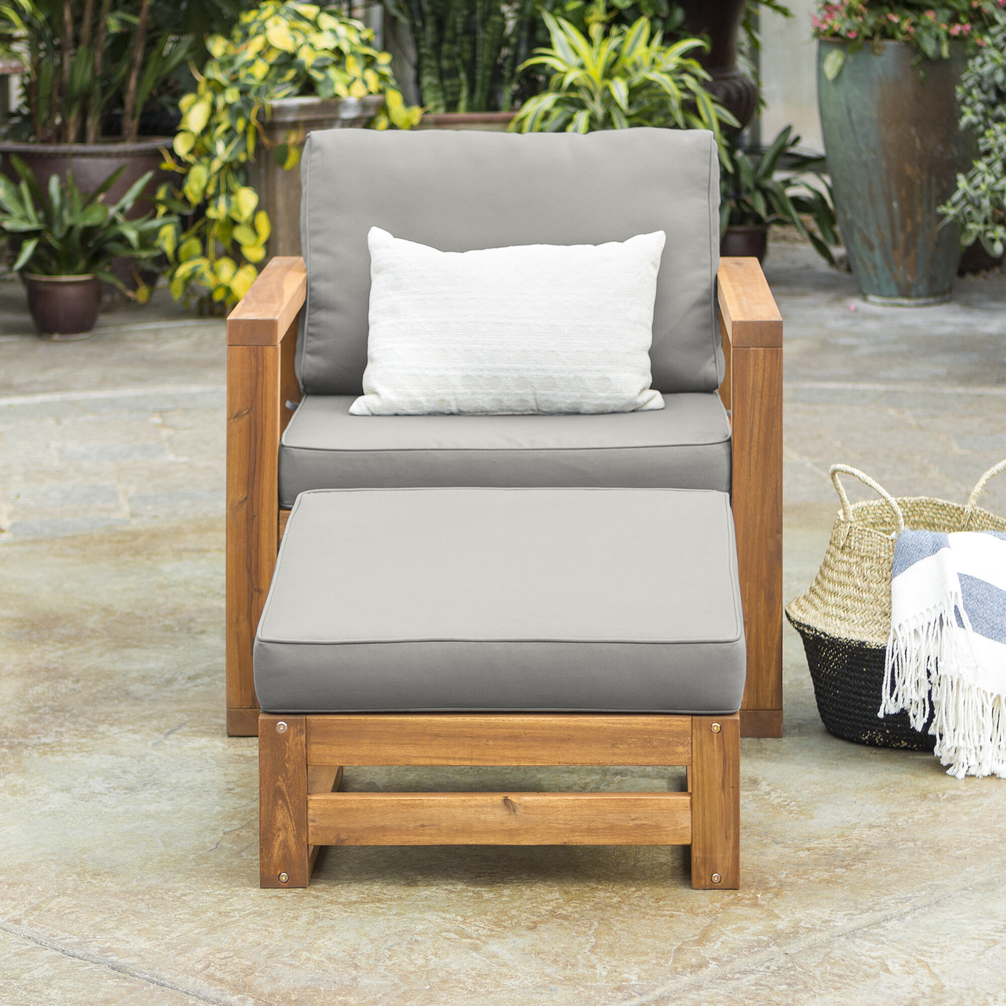 Charmant Lydon Patio Chair With Cushion And Ottoman