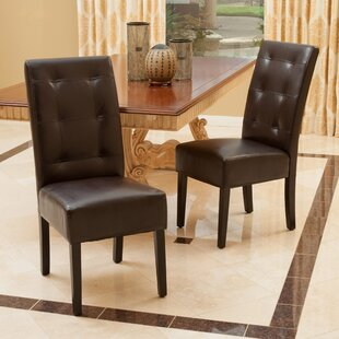Awesome Mira Genuine Leather Upholstered Dining Chair (Set Of 2)