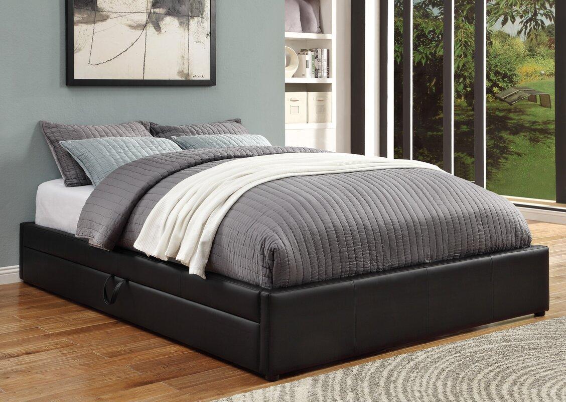 queen upholstered storage platform bed