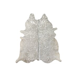 Houchin Hand-Woven Cowhide Beige/Silver Area Rugu00a0