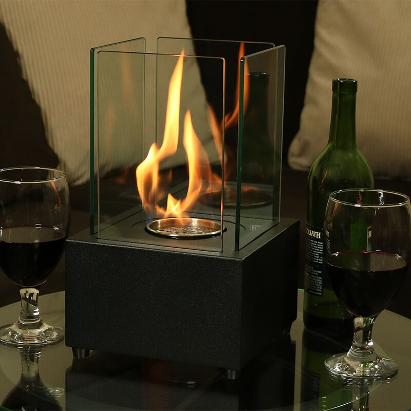 Orren Ellis Skinner Cubic Ventless Bio Ethanol Tabletop Fireplace