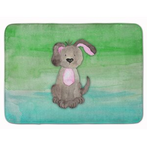 Harriett Dog Teal and Green Watercolor Memory Foam Bath Rug