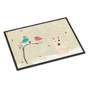 Christmas Presents Between Friends Bull Terrier Doormat