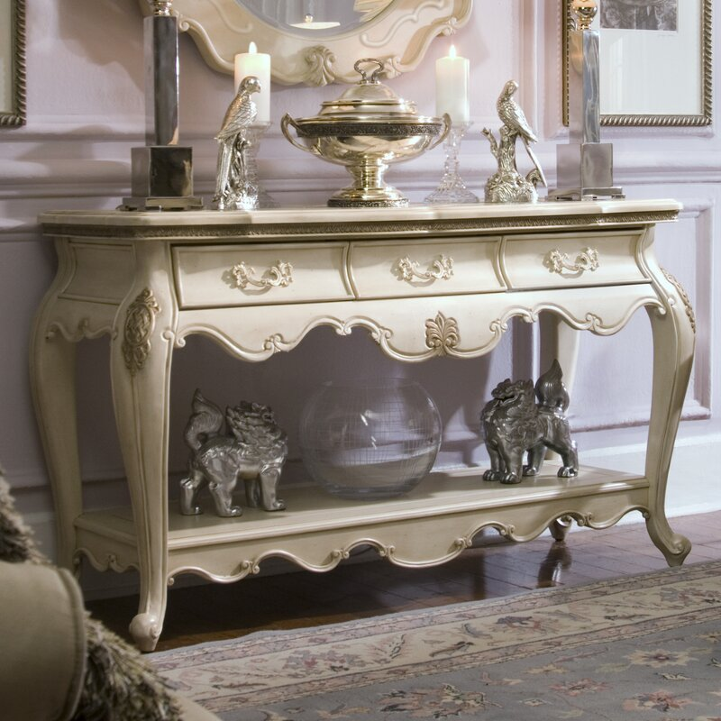 Wonderful Lavelle Console Table And Mirror Set In Blanc