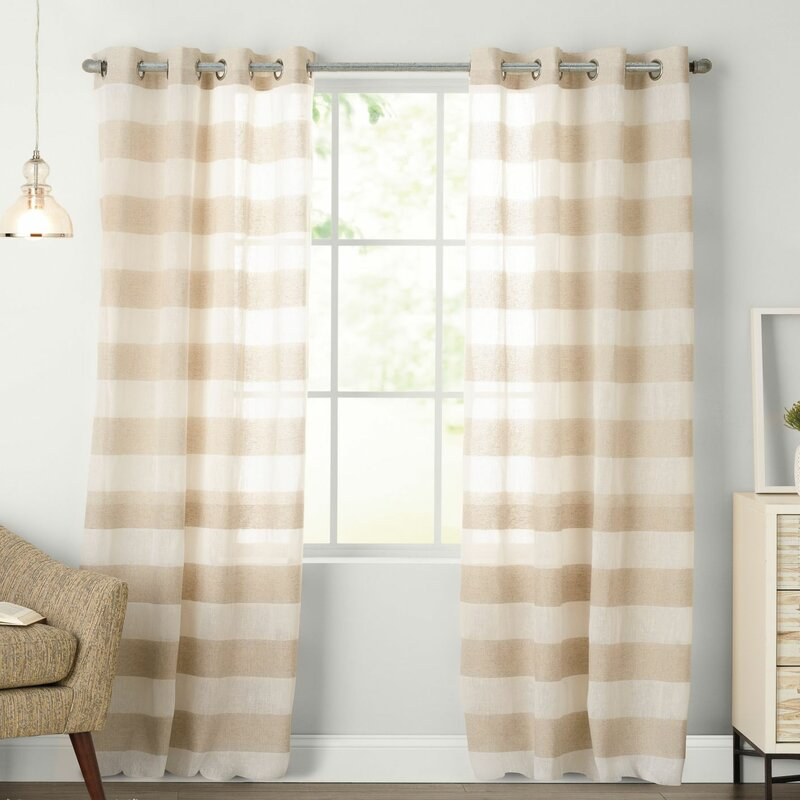 Natco Home Arlen Striped Grommet Single Curtain Panel