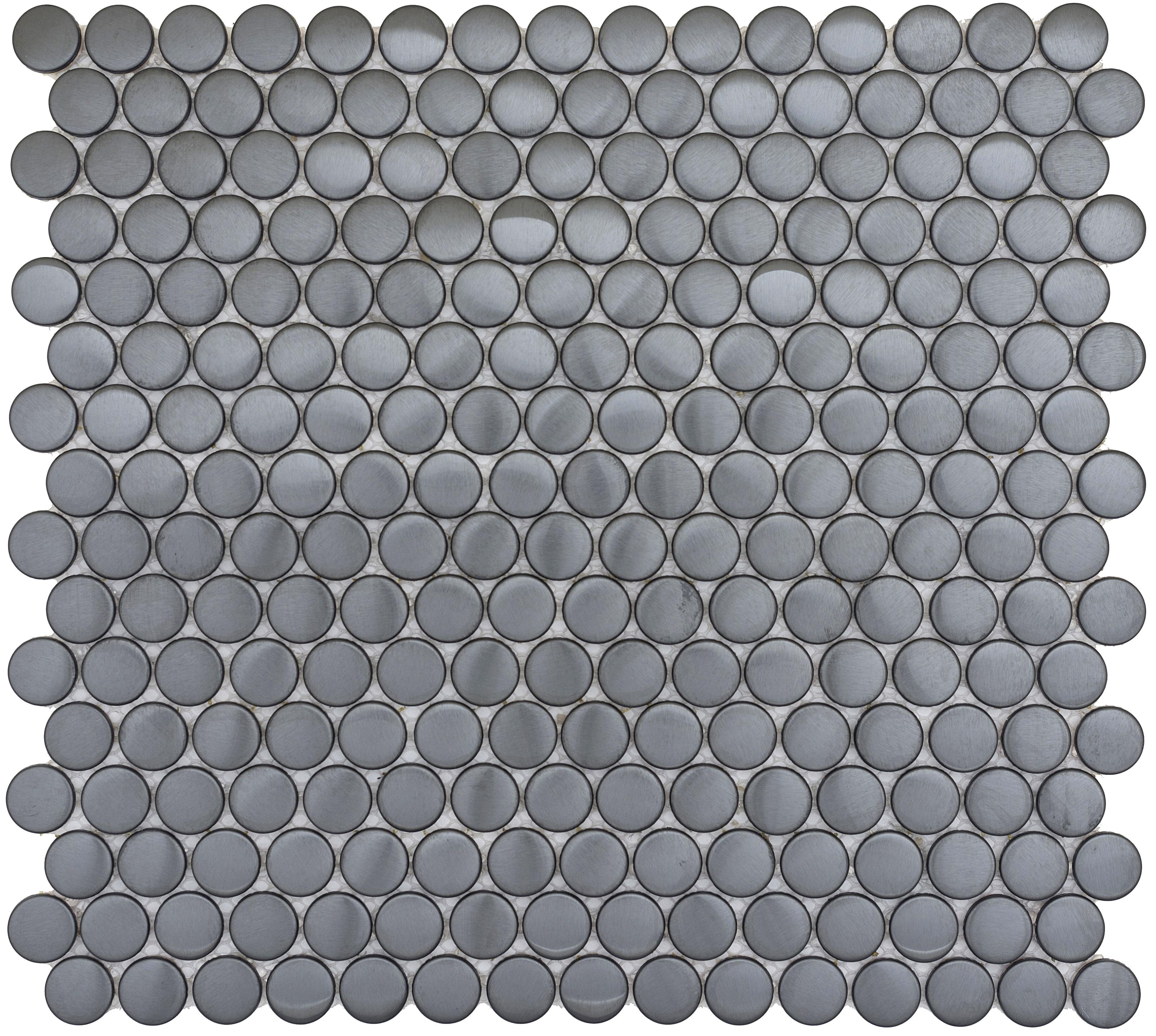 Emser Tile Gleam 12 X 12 Metal Over Ceramic Penny Mosaic Tile In