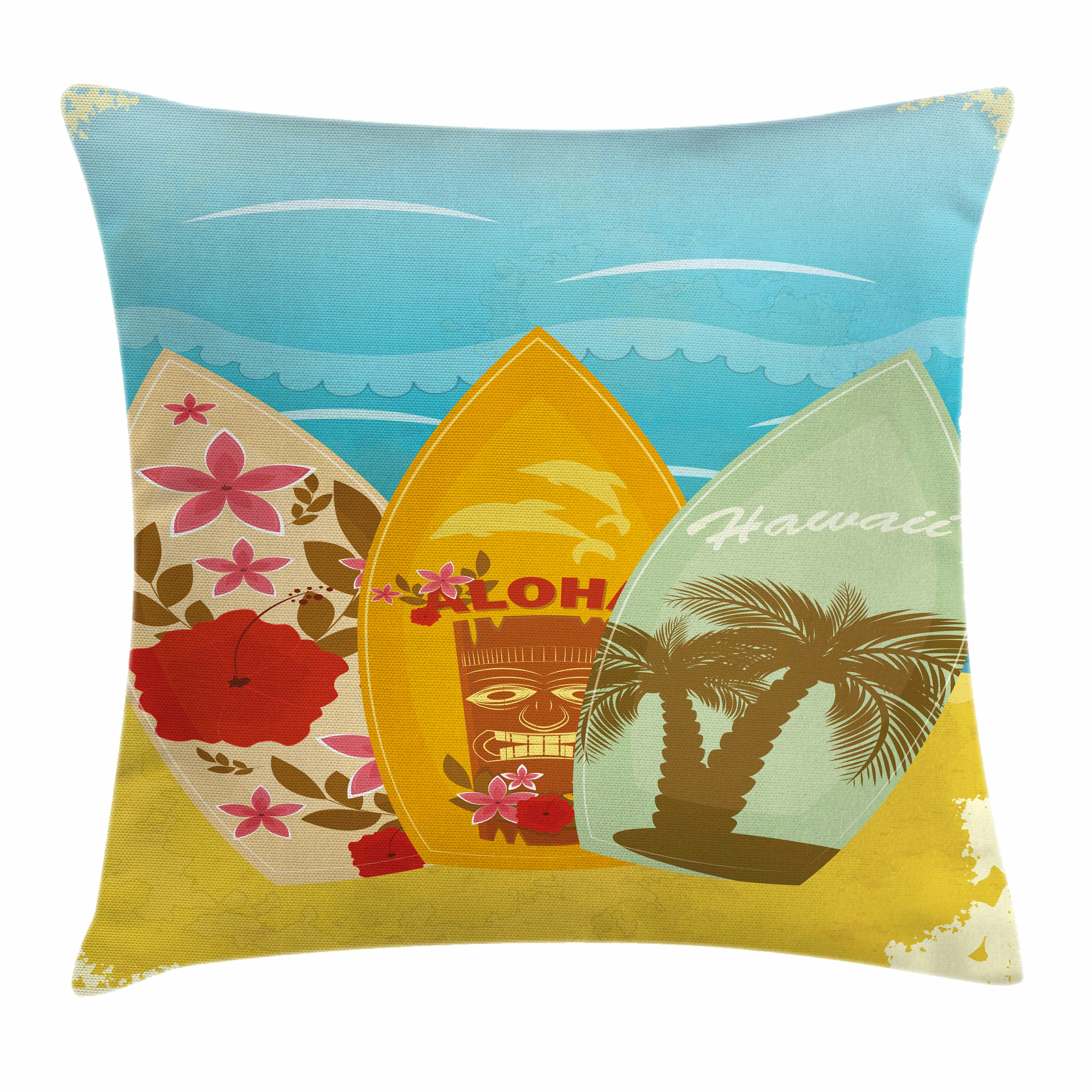 Ambesonne tiki bar decor surfboard exotic square pillow cover wayfair
