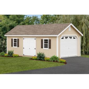 YardCraft 12 ft  W x 26 ft  D Solid Wooden Garage Shed | Wayfair
