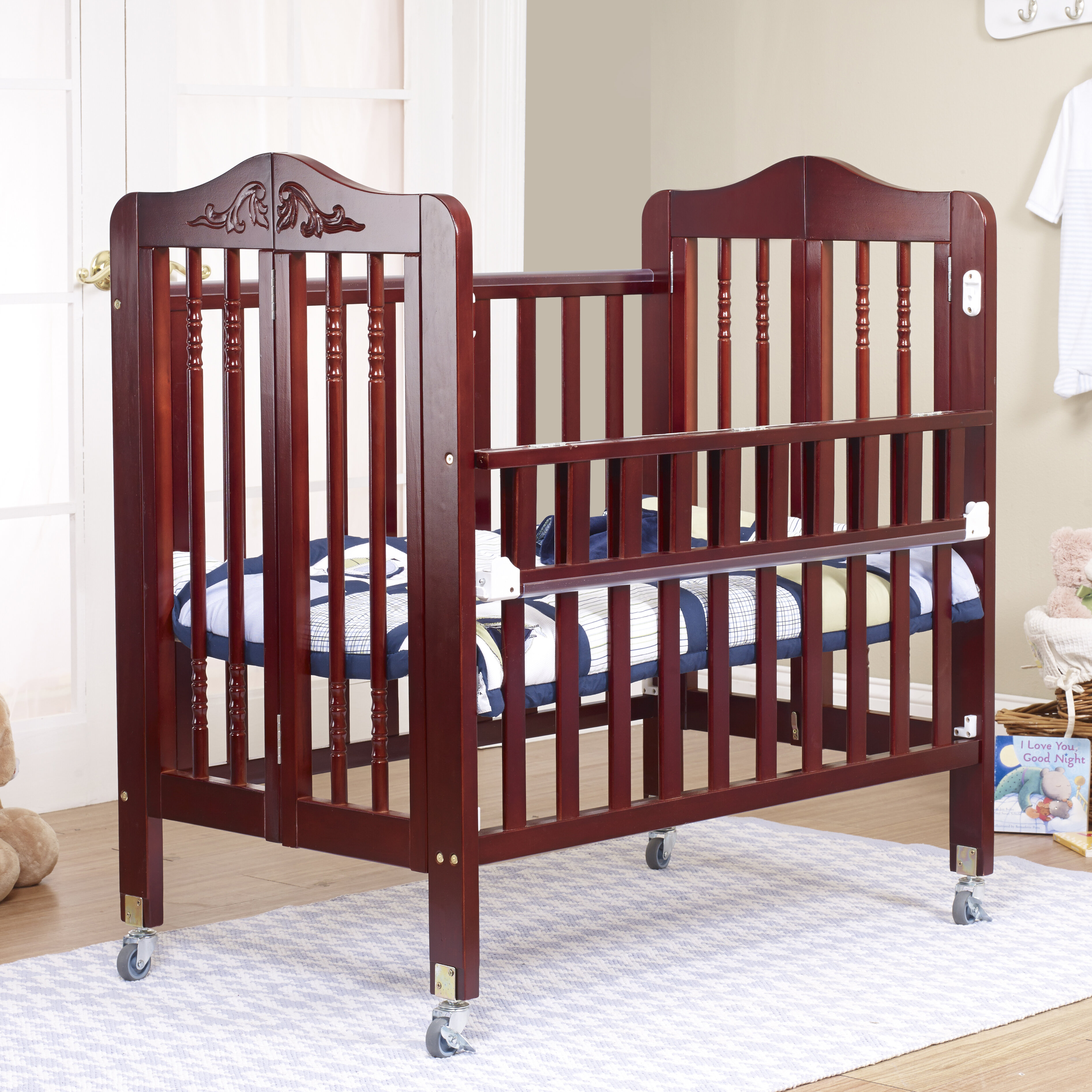 Orbelle Nataliel Folding Portable Crib With Mattress