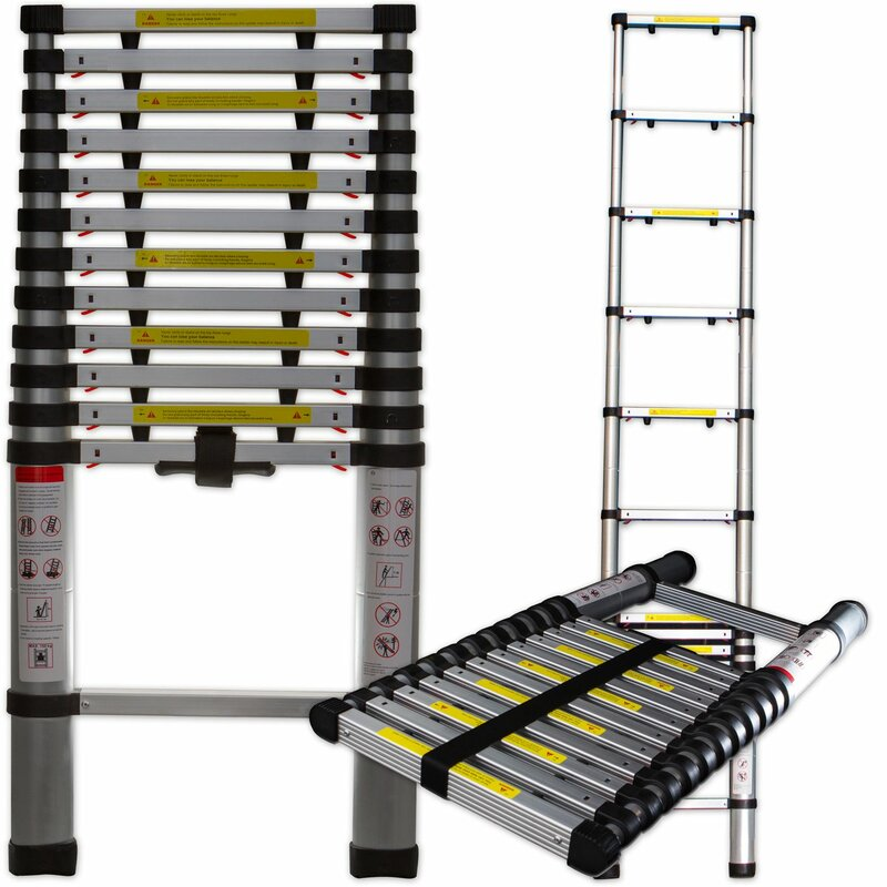 Aluminum Telescopic Ladder : Oxgord ft aluminum telescoping extension ladder with