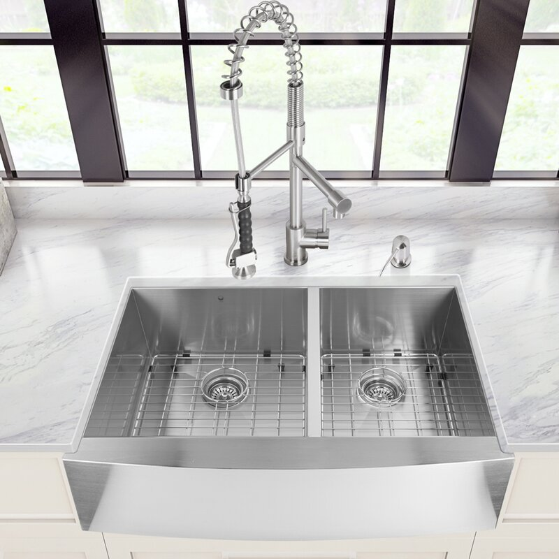 36 inch farmhouse apron 60 40 double bowl 16 gauge stainless steel kitchen sink with vigo 36 inch farmhouse apron 60 40 double bowl 16 gauge stainless      rh   wayfair com