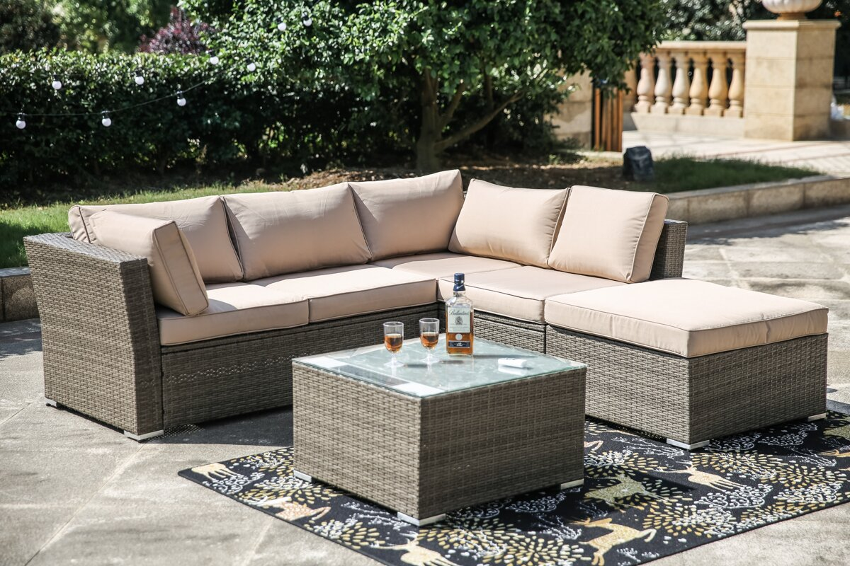 Kelly Solar Power Light Up Luxury 4 Piece Sofa Seating Group With Cushion