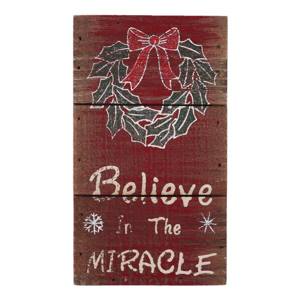 attractiondesignhome believe in the miracle christmas sign reviews wayfair