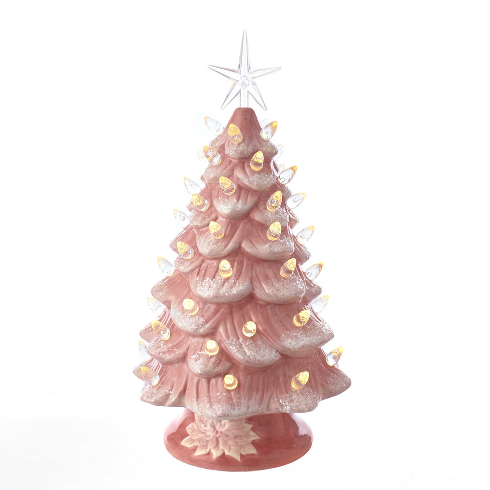 Kurt Adler 13 Pink Artificial Christmas Tree With Warm White Led Light Wayfair