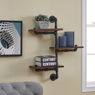 Mouzon 3 Tier Vertical Staggered Pipe Floating Shelf