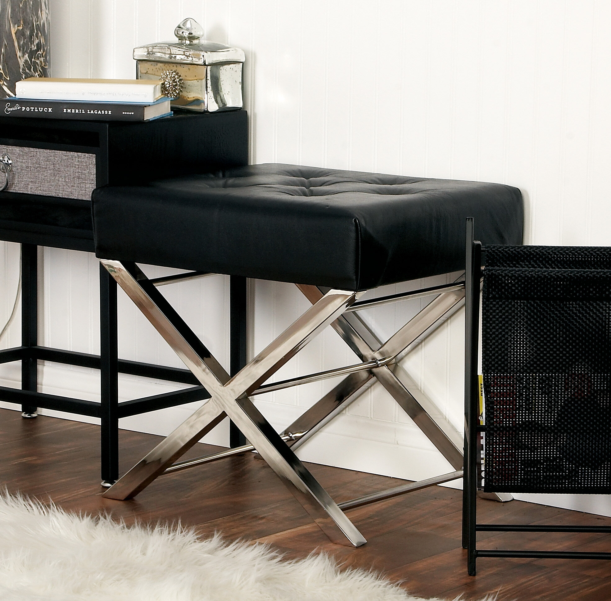 Super Cole Grey Stainless Steel And Tufted Leather Vanity Stool Alphanode Cool Chair Designs And Ideas Alphanodeonline