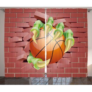 Monster Hand Out Holds Basketball Ball Rustic Home Decor Graphic Print Room Darkening Rod Pocket Curtain Panels Set Of 2
