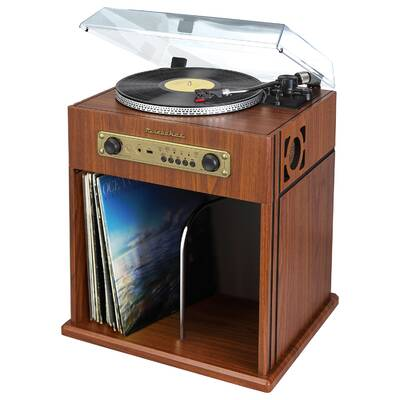 Stereo Turntable With Bluetooth Receiver And Record Storage Cabinet