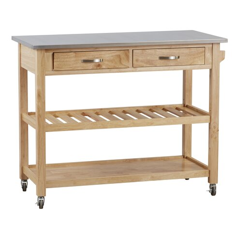 Byrnedale Kitchen Island With Stainless Steel Top