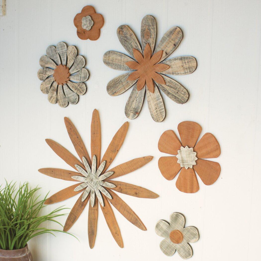 Wood Flower Wall Decor : Red barrel studio piece wooden flower wall d?cor set