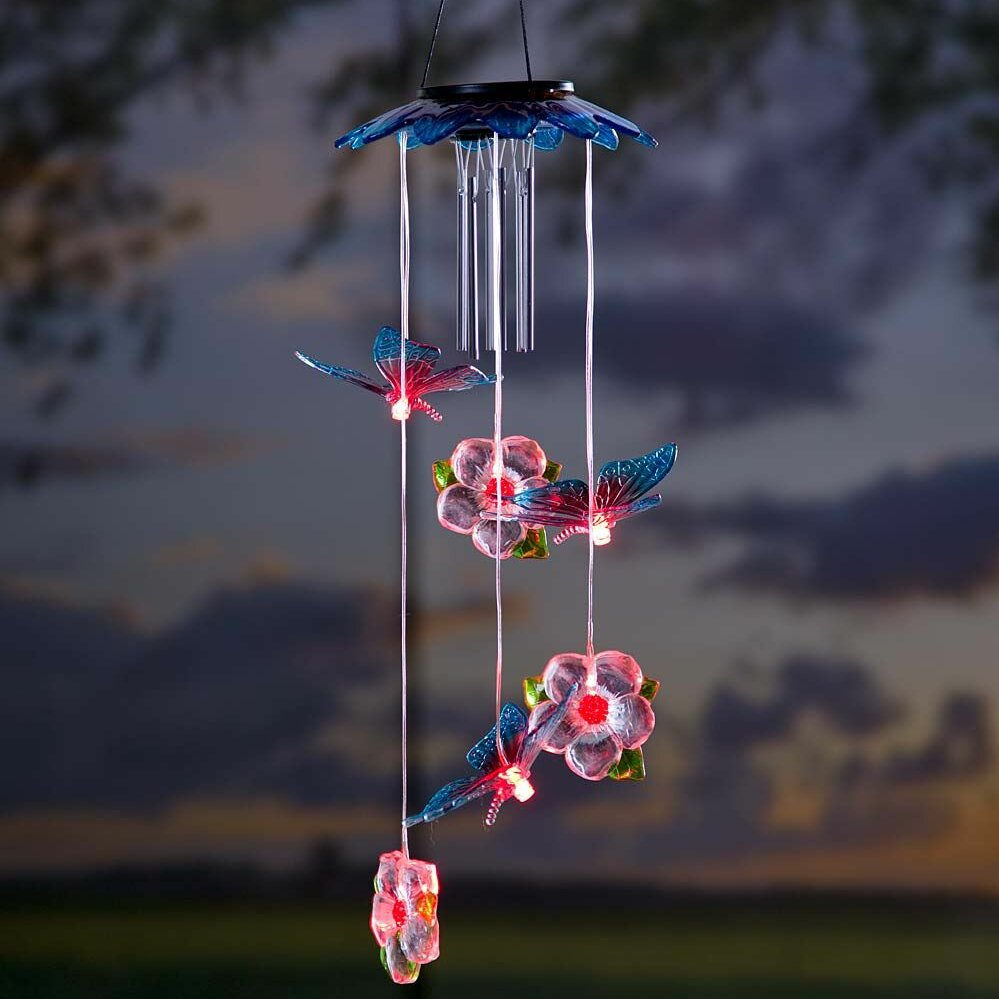 Plow Amp Hearth Butterflies Solar Mobile Wind Chime