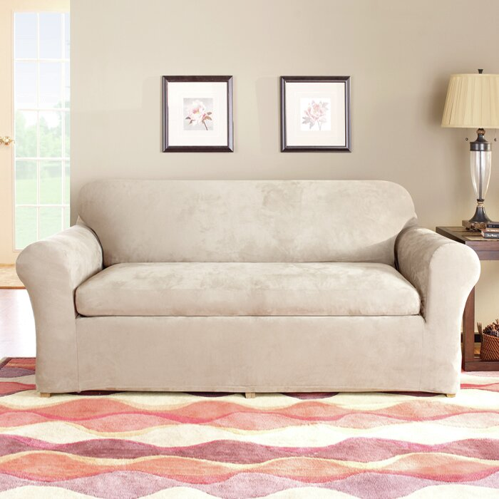 Sure Fit Stretch Suede Separate Seat Box Cushion Sofa Slipcover