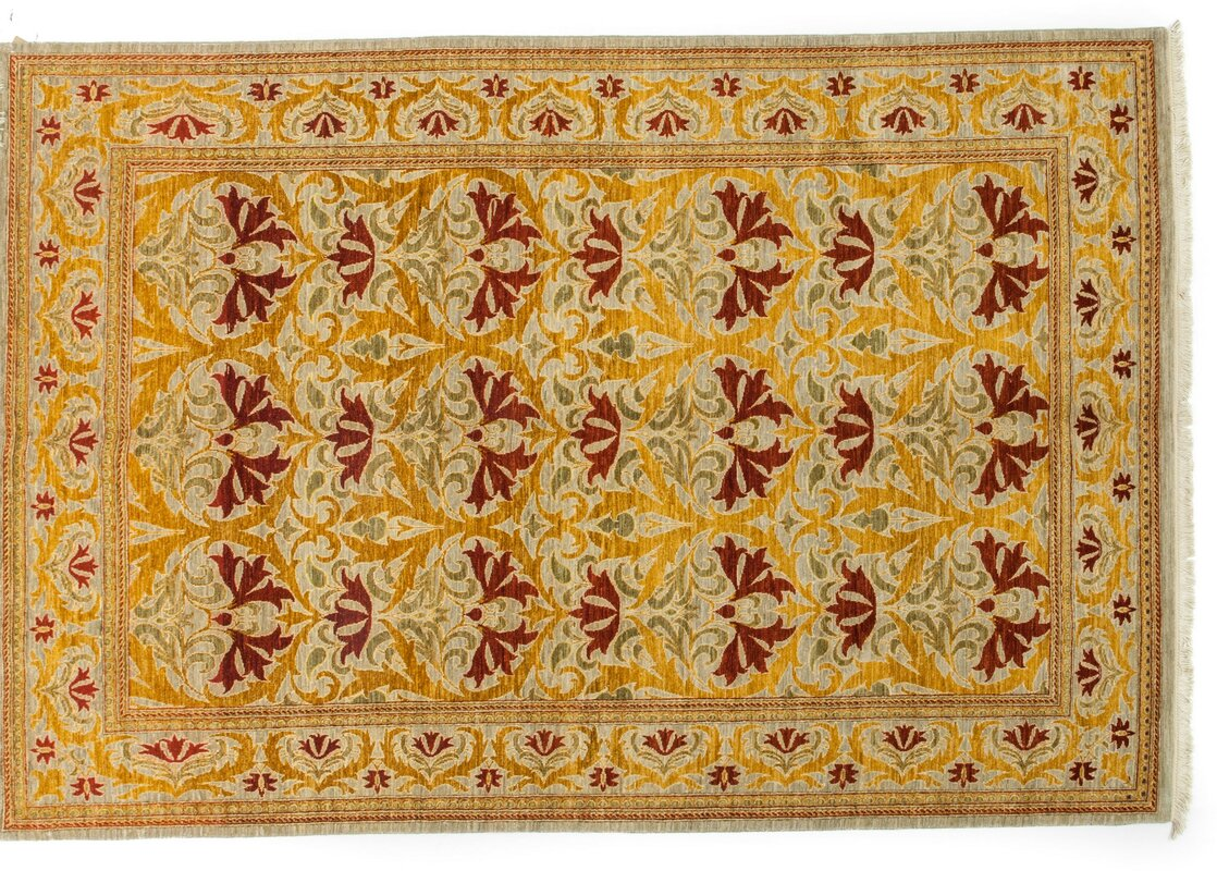 One Of A Kind Arts And Crafts Hand Knotted Yellow Area Rug