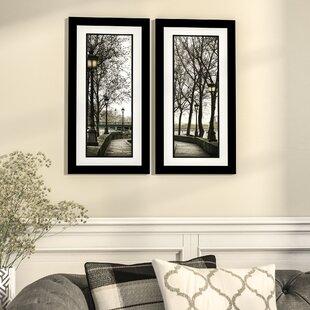 e2638e00182  Along the Quai  2 Piece Framed Photographic Print Set in Black and White