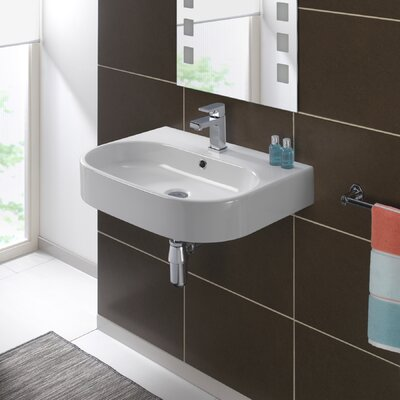 Bissonnet Pro Vitreous China 24 Wall Mount Bathroom Sink with Overflow