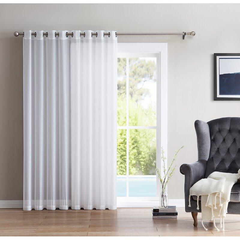 Lenwood Patio Door Solid Sheer Grommet Single Curtain Panel Reviews Birch Lane