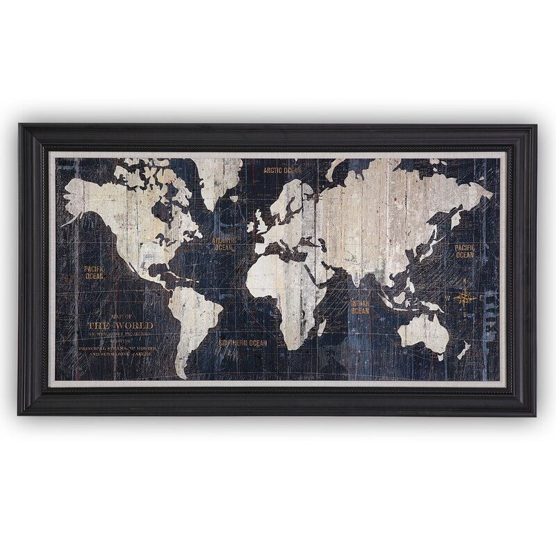 Mercury row old world map blue framed graphic art on wrapped old world map blue framed graphic art on wrapped canvas gumiabroncs Images