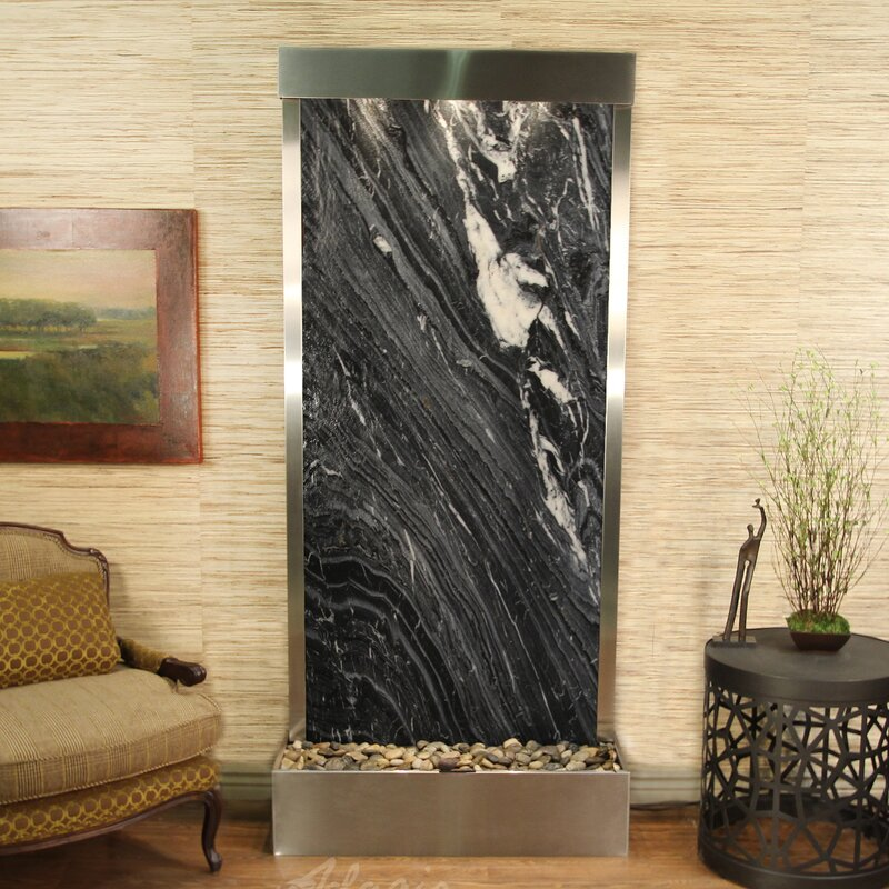 Tranquil River Natural Stone/Metal Wall Fountain with Light Finish: Stainless Steel, Stone: Green Feather