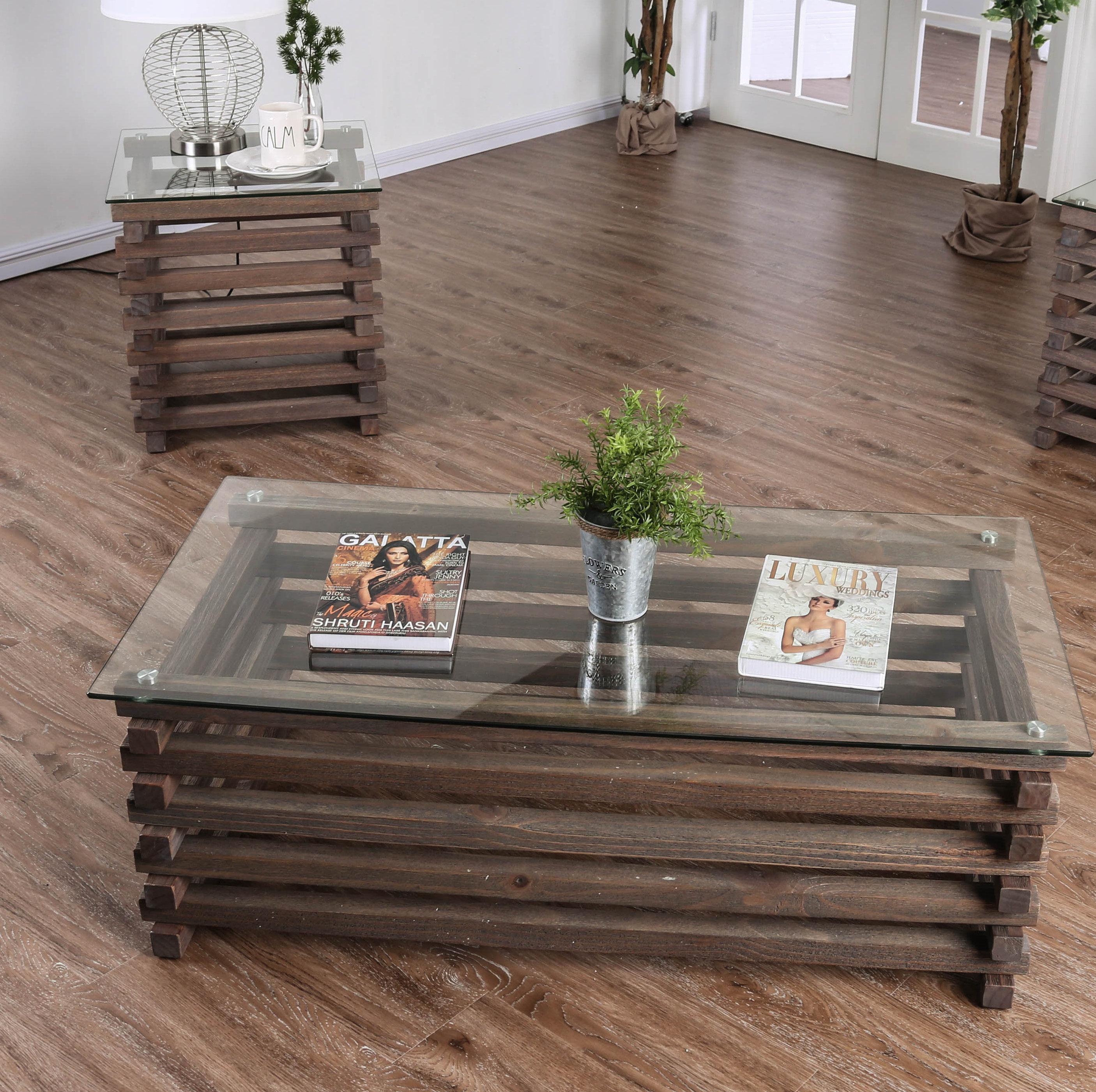 Union Rustic Perrodin Farmhouse 2 Piece Coffee Table Set Wayfair