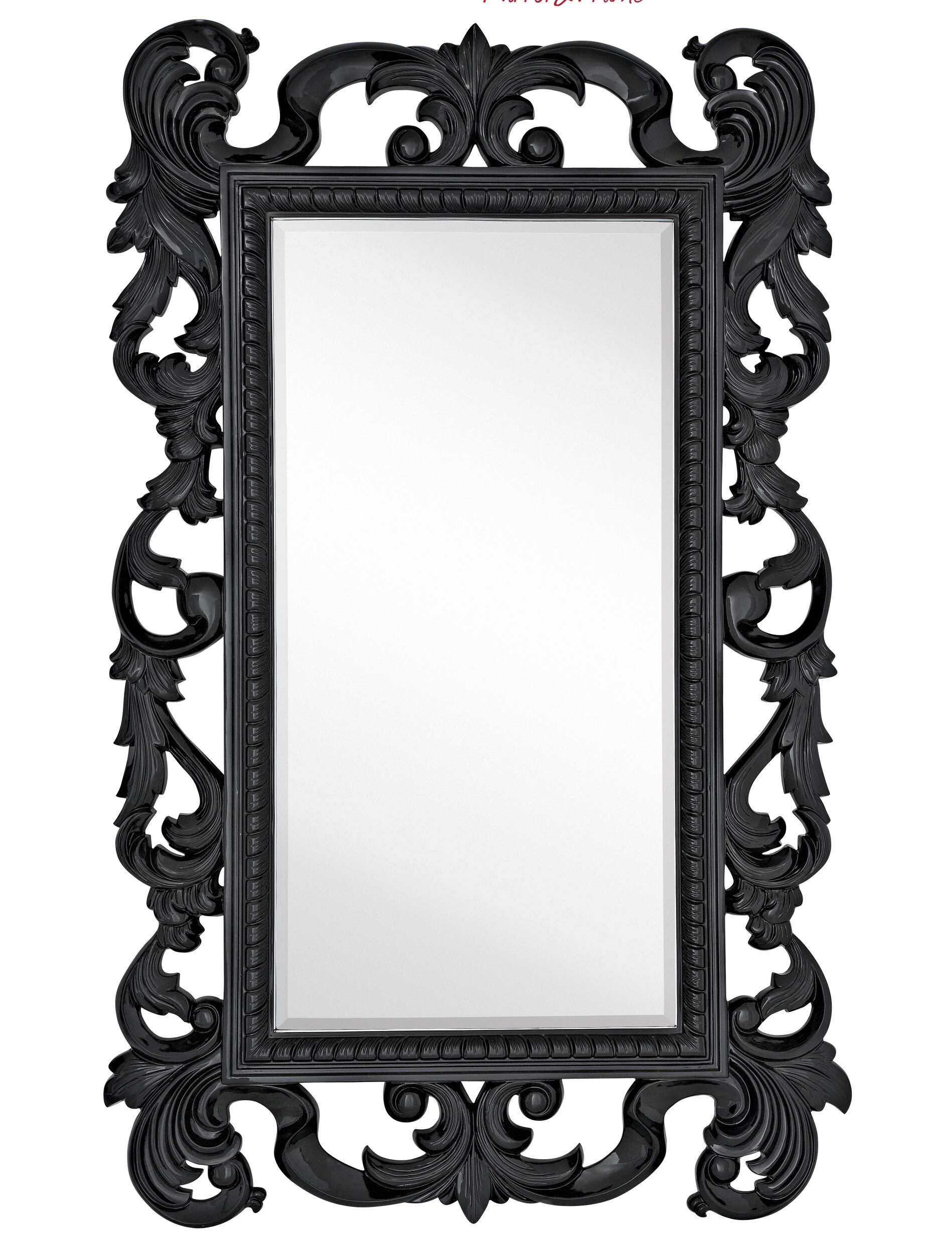 Majestic Mirror Large Rectangular Traditional Black Lacquer Beveled Glass  Antique Wall Mirror | Wayfair